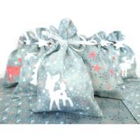 Adventskalender Säckchen aus Stoff Stoffsäckchen zum Befüllen - 24 Stoffbeutel Säckchen mint Bild 1