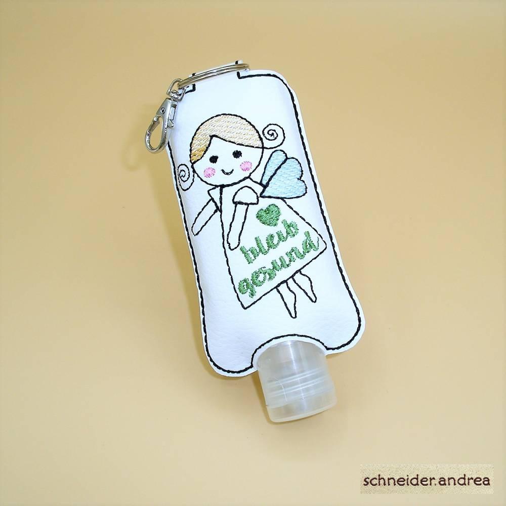 Gesticktes Desinfektionsmittelflaschen - Etui SCHUTZENGEL Bild 1