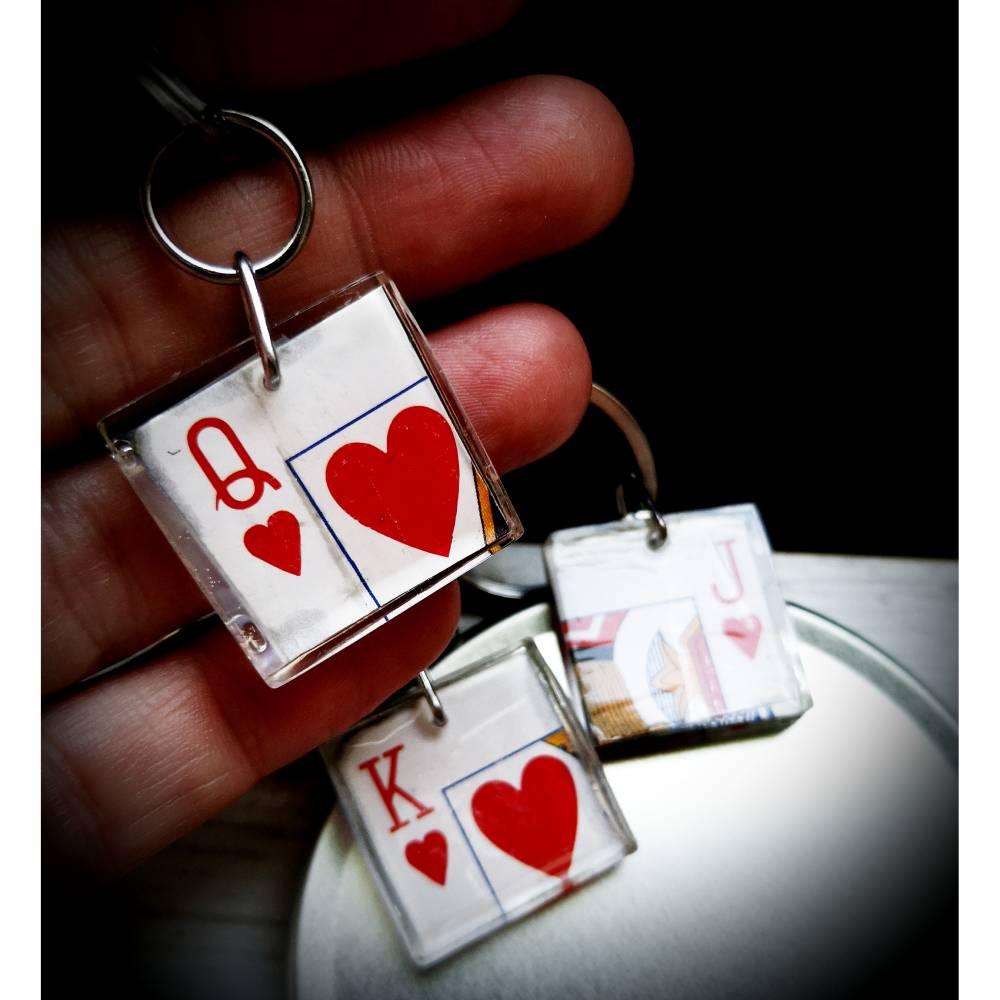 Anhänger , Schlüsselanhänger,Herzdame, Herzbube, Herzkönig,, Kartenpiel, Spiel, Partneranhänger Bild 1