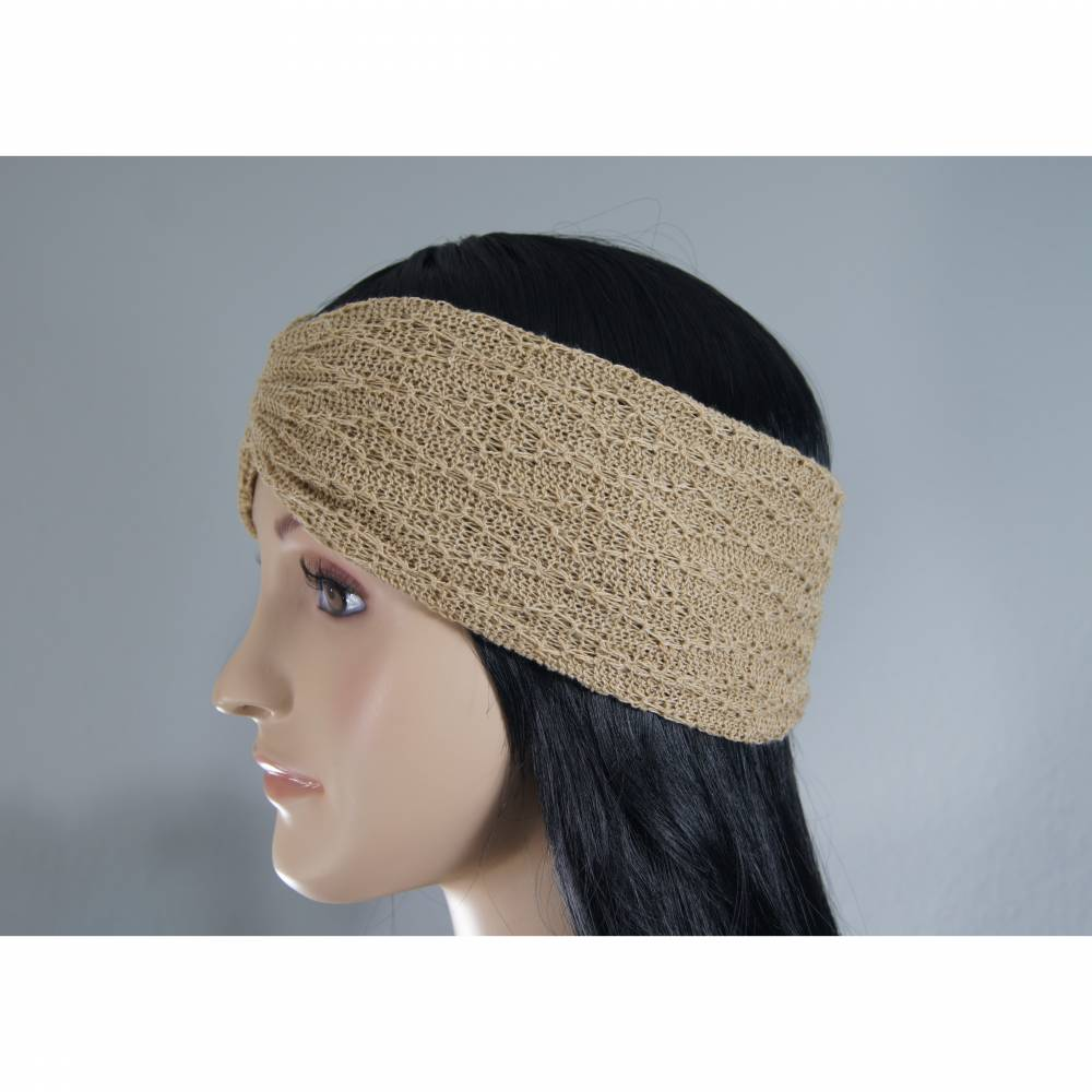 Stirnband gestrickt Baumwolle/Leinen Bild 1