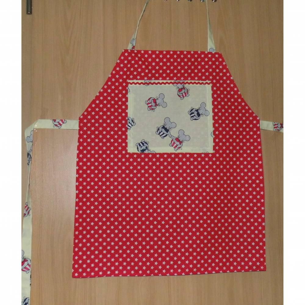 Kochschürze Malschürze Kinderschürze Schürze  Gr. 122-140 Motiv Mäuse zur Einschulung Bild 1