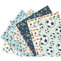Geschenkpapier Kinder Jungen, 6 Einzelbögen Geschenkpapier für Kindergeburtstag, Motiv- und Bastelpapier, Geschenke einpacken für Jungs Bild 1