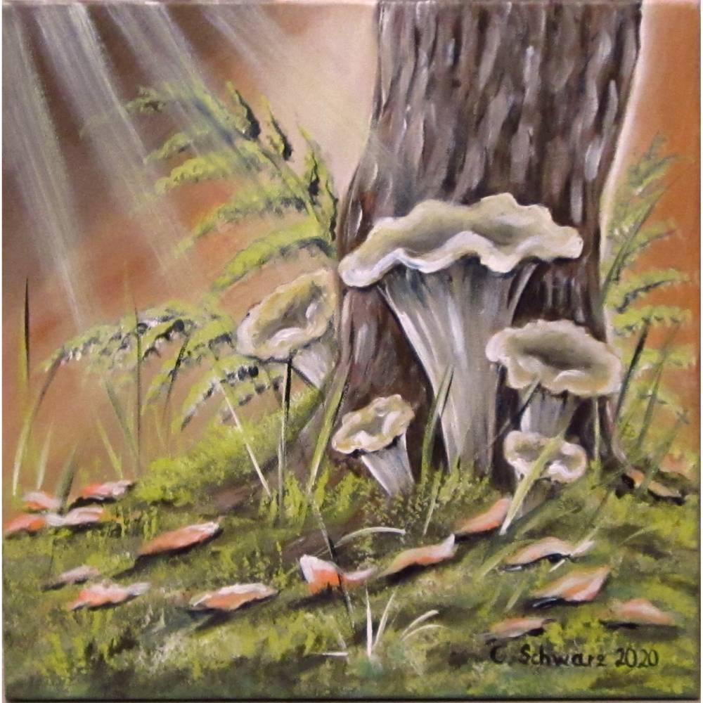 TROMPETENPILZE - idyllisches Acrylgemälde mit Pilzen im Moos auf Leinwand 40cmx40cm Bild 1