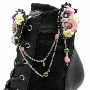 Schuhclips, Schuhschmuck mit Blumen und Perlen