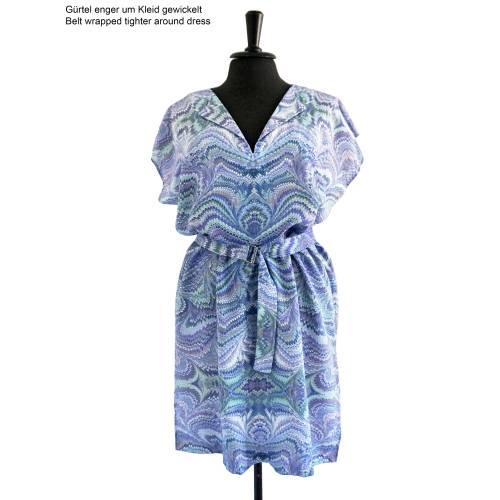 ART-DÉCO Kleid, Tunika mit Gürtel, marmoriert, Art Nouveau, Jugendstil