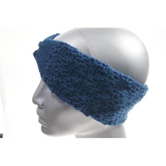 Stirnband gestrickt klein blau Bild 1