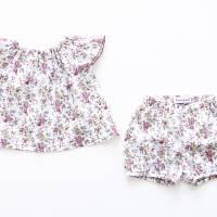 Baby-Set, kurzärmlige Bluse und Bloomers,74 80, Rosenprint, Upcycling Bild 1