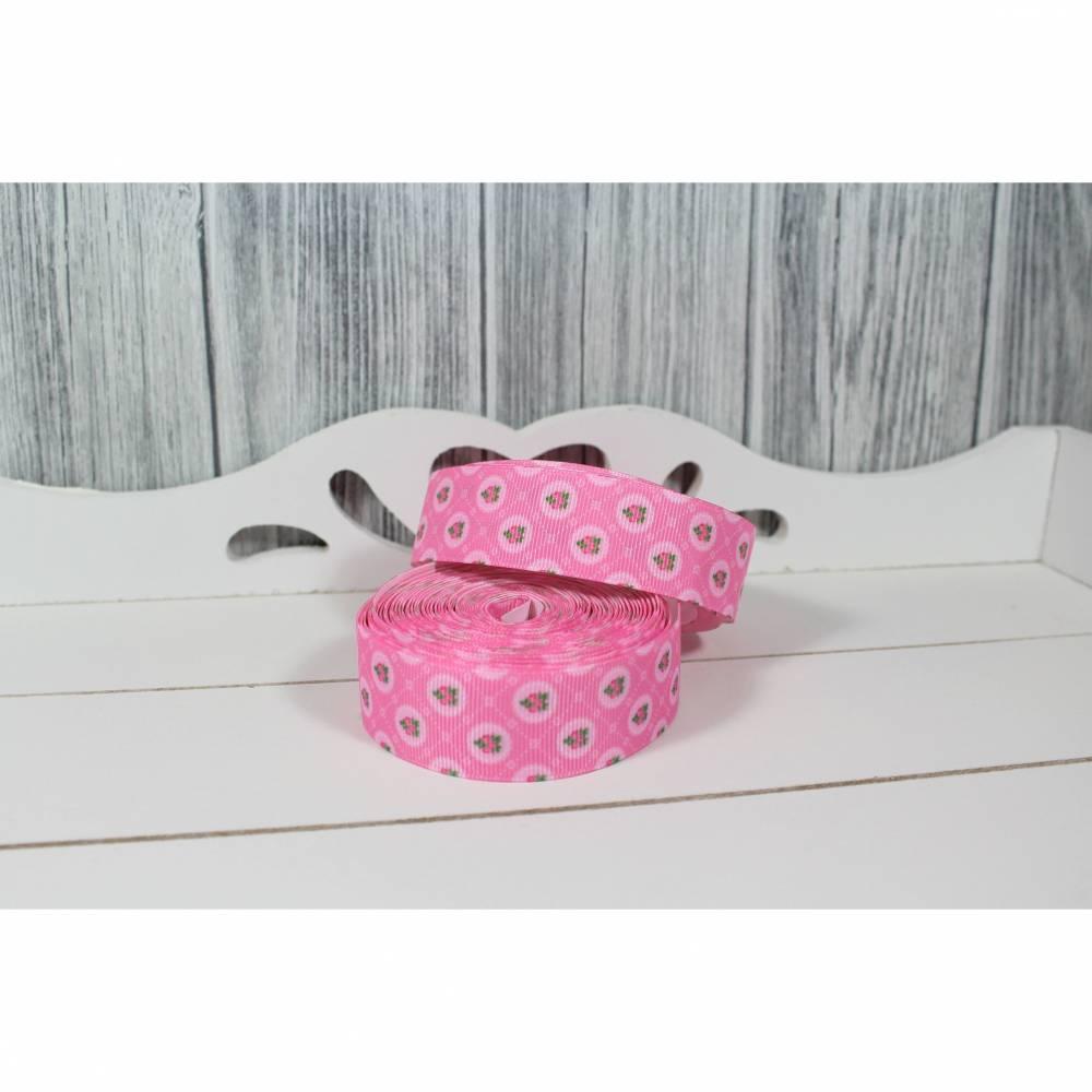 Ripsband Röschen Rosa 25mm Ribbon Band Borte Nähen Basteln Dekorieren Verzieren Mädchen Bild 1
