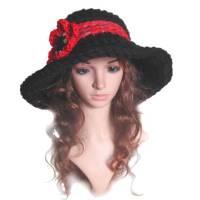 Damenhut Winterhut Red Flower gehäkelte Handarbeit Größe M 56- 57 cm Kopfumfang Bild 1