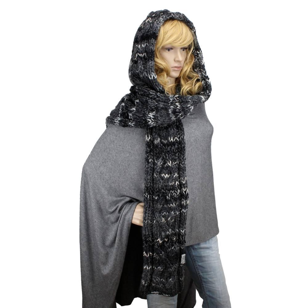 Kapuzenschal exklusiv Schal XXL handgestrickt grau schwarz Bild 1