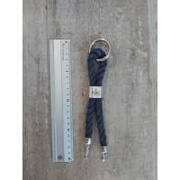 Schlüsselanhänger UNIKAT Geschenk Karabinerring Heimathafen Anhänger Segelseil Shabby blau Maritim Bild 1