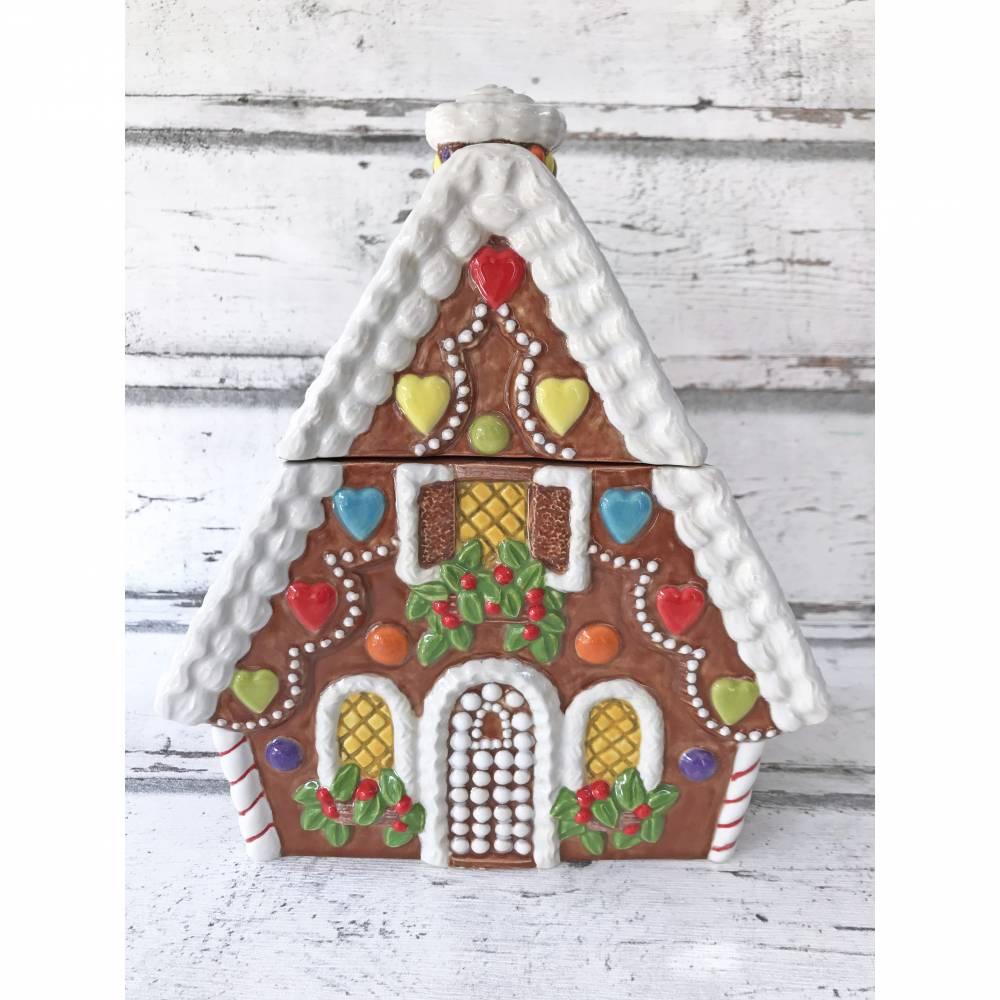 Keksdose, Knusperhaus, Lebkuchenhaus, aus Keramik , handbemalt Bild 1