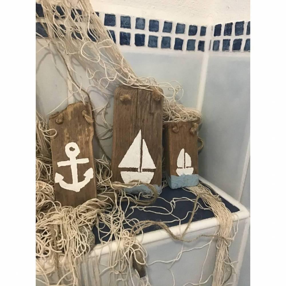 3 maritime Treibholz Schilder, Anker, ⛵️ Segelboot Bild 1