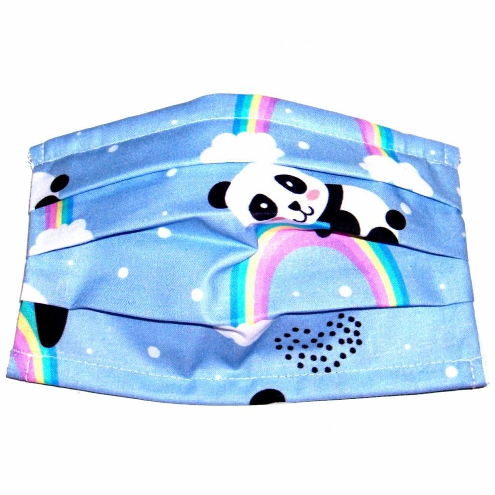 """MuNaske - Behelfs-Mund-Nase-Maske """"Regenbogenpanda"""", Größe S, genäht aus Baumwollstoff, mit Nasenbügel - Waschbar - Behelfsmaske - Alltagsmaske Bild 1"""