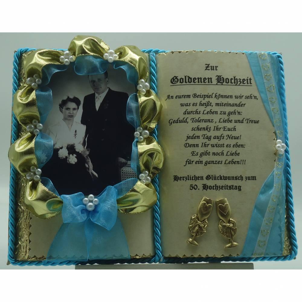 deko-buch zur goldenen hochzeit für foto - 50. ehejubiläum (mit  holz-buchständer)