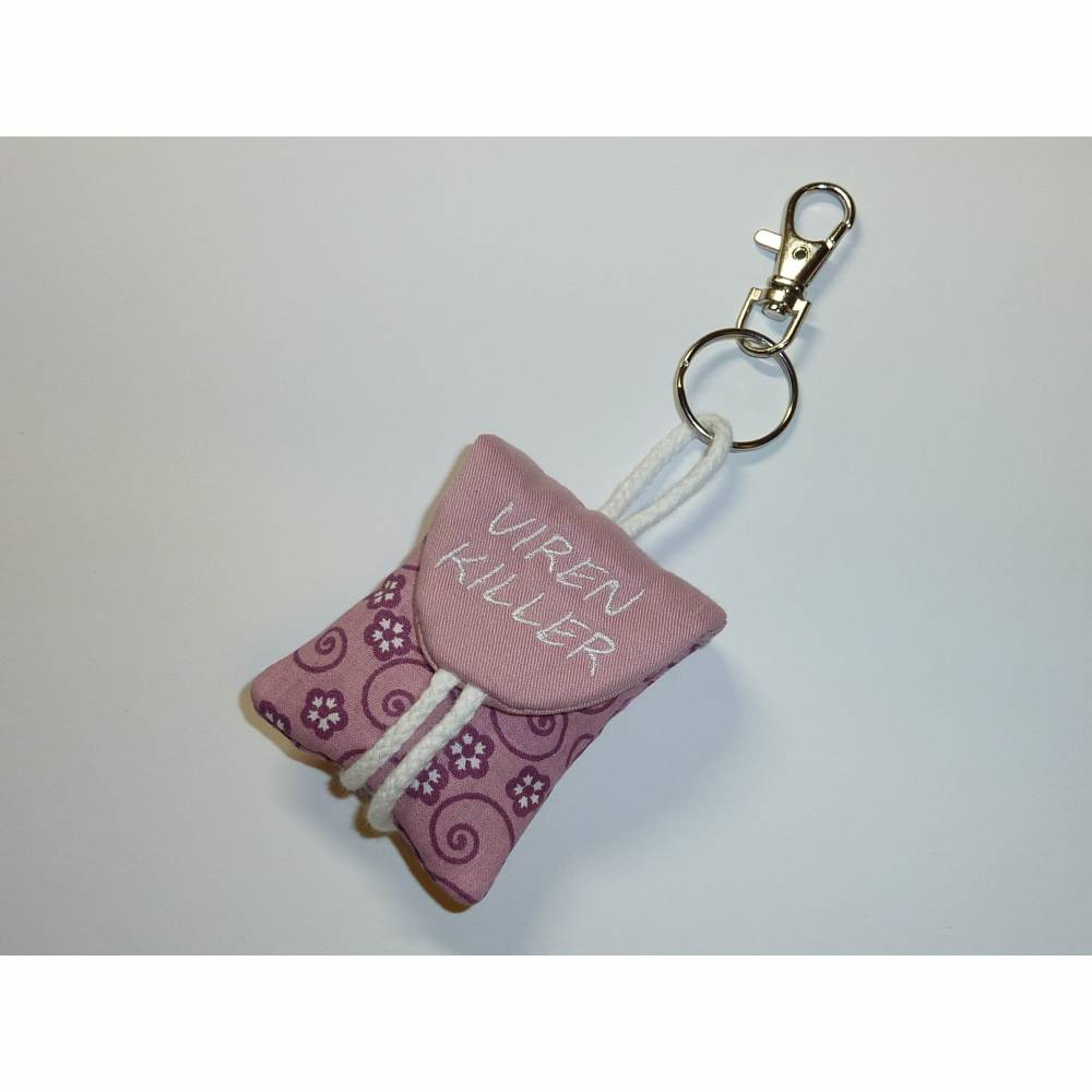 Seifentäschchen Schlüsselanhänger Seife Tasche rosa lila Blumen Bild 1
