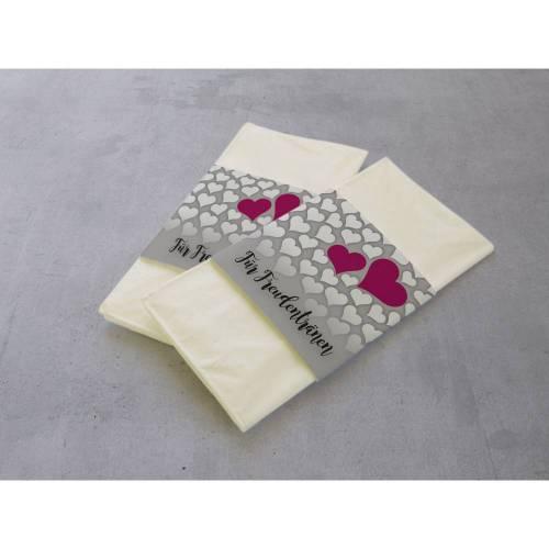 50 Stück Freudentränen Taschentuch Banderolen Grau & Herzen