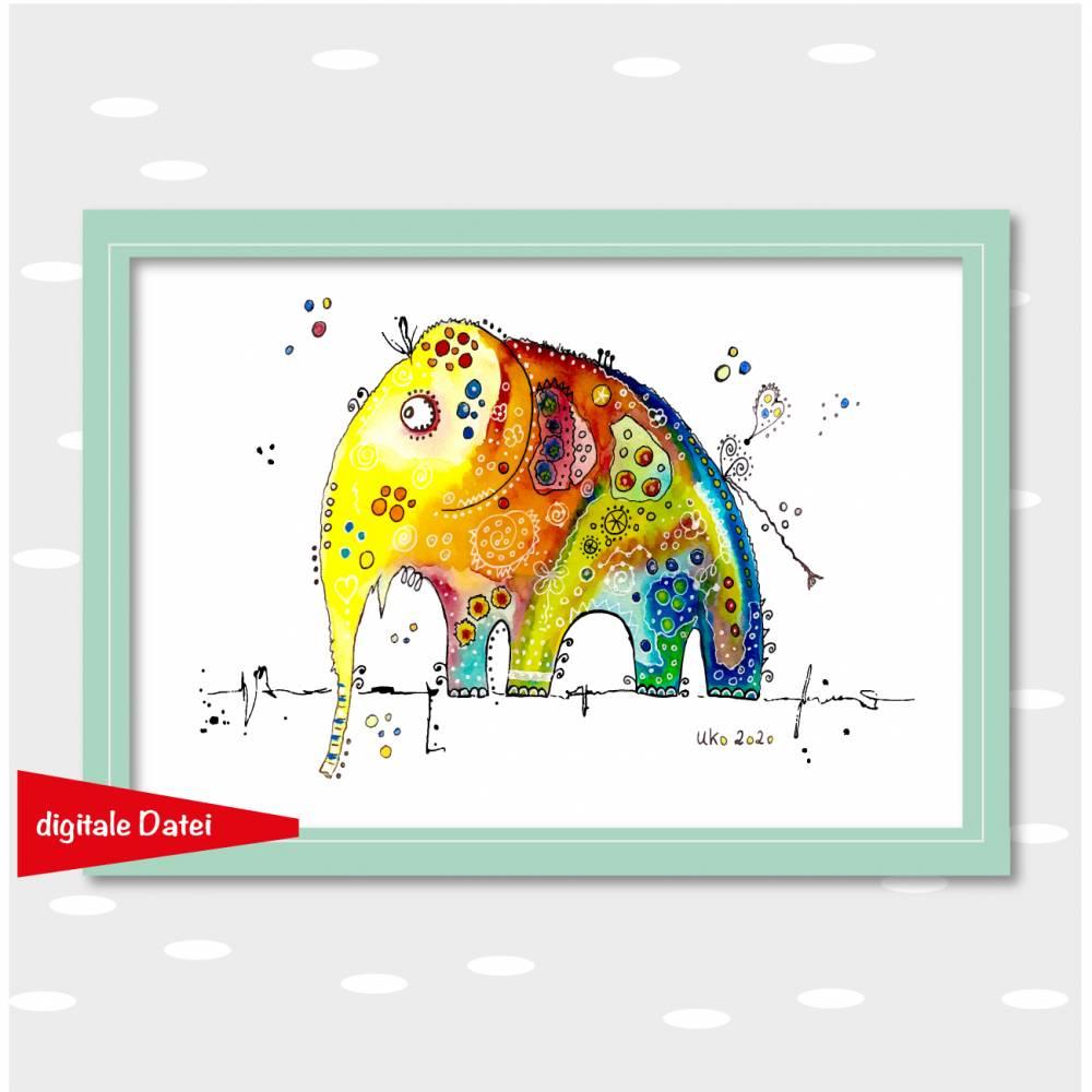 "Wandbild Funny Art ""Elefant"", digitale Datei zum Selbstausdruck, DIY Geschenk Bild 1"