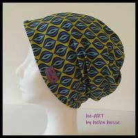 Beanie-Loop - gleichzeitig Mütze und Loop - für Damen, genäht aus Jersey in senf-blau, von he-ART by helen hesse Bild 1