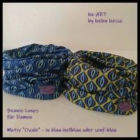 Beanie-Loop - gleichzeitig Mütze und Loop - für Damen, genäht aus Jersey in senf-blau, von he-ART by helen hesse Bild 10