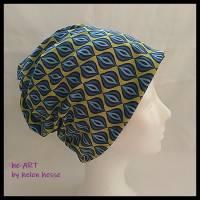 Beanie-Loop - gleichzeitig Mütze und Loop - für Damen, genäht aus Jersey in senf-blau, von he-ART by helen hesse Bild 2