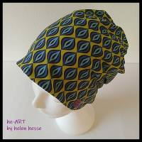 Beanie-Loop - gleichzeitig Mütze und Loop - für Damen, genäht aus Jersey in senf-blau, von he-ART by helen hesse Bild 3
