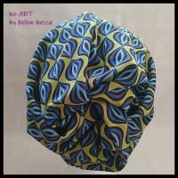 Beanie-Loop - gleichzeitig Mütze und Loop - für Damen, genäht aus Jersey in senf-blau, von he-ART by helen hesse Bild 4