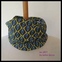 Beanie-Loop - gleichzeitig Mütze und Loop - für Damen, genäht aus Jersey in senf-blau, von he-ART by helen hesse Bild 5