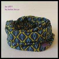 Beanie-Loop - gleichzeitig Mütze und Loop - für Damen, genäht aus Jersey in senf-blau, von he-ART by helen hesse Bild 6