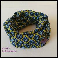 Beanie-Loop - gleichzeitig Mütze und Loop - für Damen, genäht aus Jersey in senf-blau, von he-ART by helen hesse Bild 7