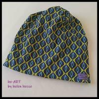 Beanie-Loop - gleichzeitig Mütze und Loop - für Damen, genäht aus Jersey in senf-blau, von he-ART by helen hesse Bild 8