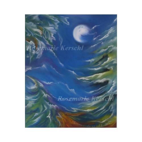 Sturmnacht Pastellkreidebild handgemalte Landschaft 30 x 40 cm in Hochformat