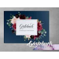 Gästebuch Hochzeit mit Fragen Bordeaux Blue Blush Bild 1