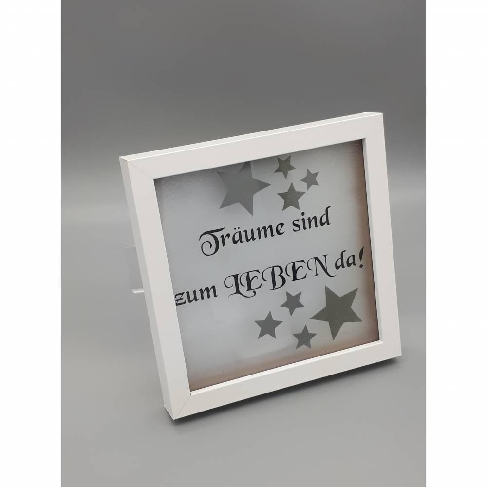 """Leuchtrahmen, Rahmen beleuchtet mit Spruch """"Träume sind..."""" Bild 1"""