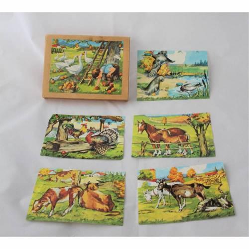 Vintage Puzzle Holzwürfel Bilderbaukasten