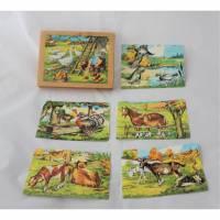 Vintage Puzzle Holzwürfel Bilderbaukasten Bild 1
