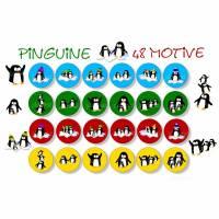 Cabochon Vorlagen zum Ausdrucken, Pinguine, bunt, Cabochonbilder, 48 Motive, Winter, Weihnachten, Größe nach Wahl Bild 1
