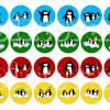 Cabochon Vorlagen zum Ausdrucken, Pinguine, bunt, Cabochonbilder, 48 Motive, Winter, Weihnachten, Größe nach Wahl Bild 2