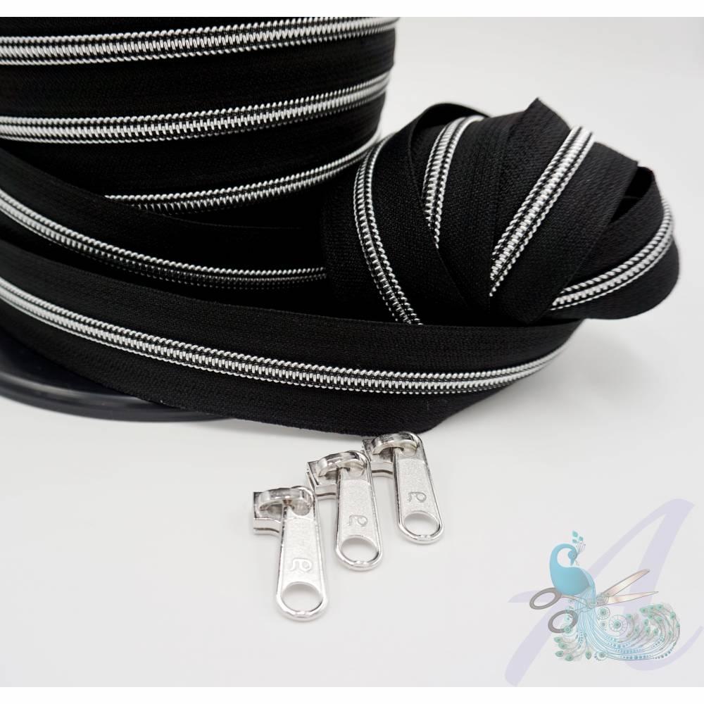 1m endlos Reißverschluss inkl. 3 Zippern - breit metallisiert schwarz - Silber Bild 1