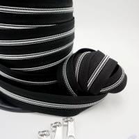 1m endlos Reißverschluss inkl. 3 Zippern - breit metallisiert schwarz - Silber Bild 2