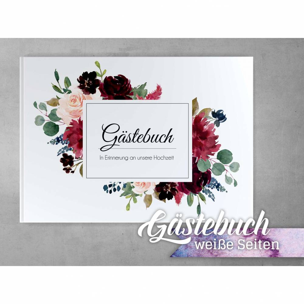 Gästebuch Hochzeit mit weißen Seiten Bordeaux Blue Blush Weiß Bild 1