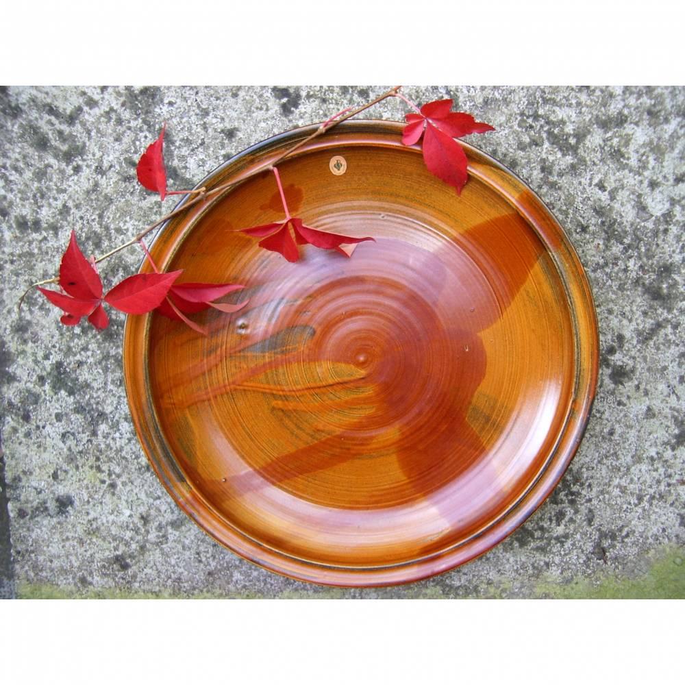 Vintage Keramik XL Servierplatte Schale Teller orange-braun Obst Töpferware 70er Bild 1