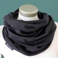 Loop Sweat uni schwarz Baumwolle Herren kuscheliger Schal unisex Schlauchschal  Bild 1