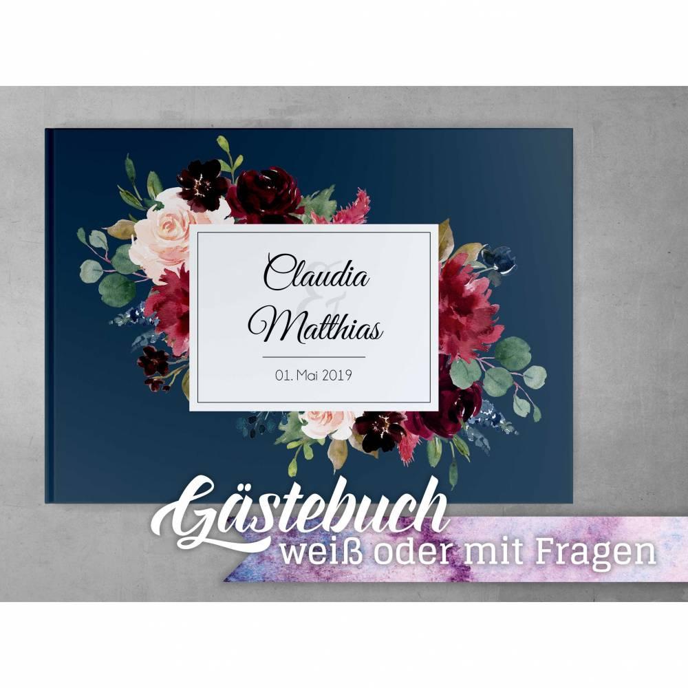 Gästebuch Hochzeit mit Fragen Bordeaux Blue Blush Individuell personalisierbar Namen Datum Bild 1