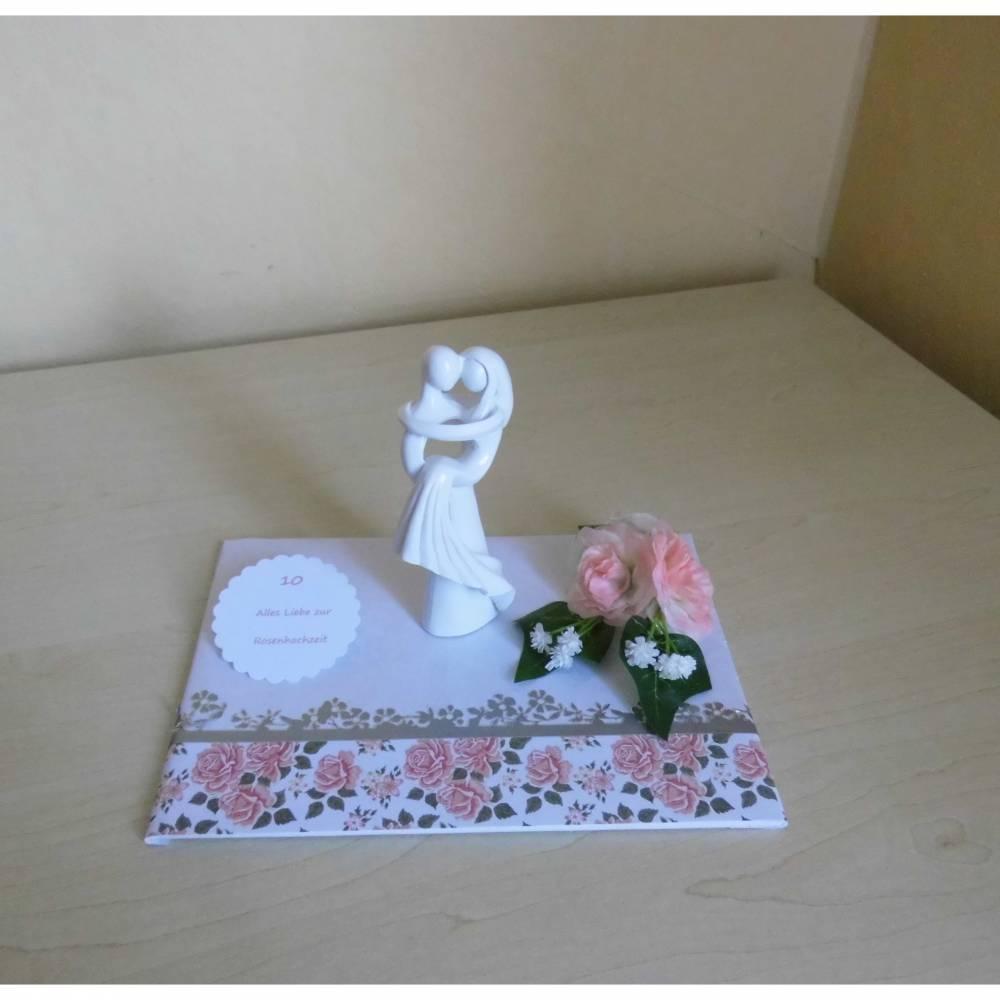 Rosenhochzeit - Geldgeschenk - Tischdeko 10 Jahre Ehe - Geschenkidee Bild 1