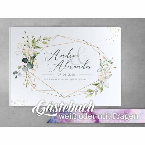 Gästebuch Hochzeit Nature Breeze, mit Fragen oder weißen Seiten, Individuell personalisierbar mit Namen Datum