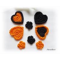 8-teiliges Häkelset Herzen und Streublümchen - Tischdeko,Streudeko zu Halloween - orange,schwarz