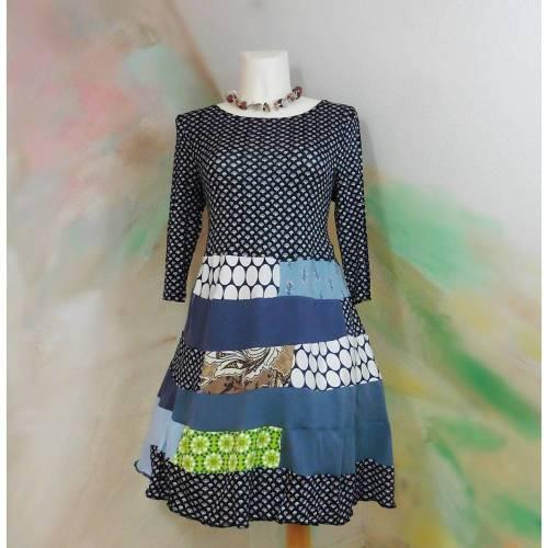 Kleid 44 - 46 Tunika Handmade Upcycling Unikat XXL Übergröße Jerseykleid Baumwolle marine blau XL PlusSize
