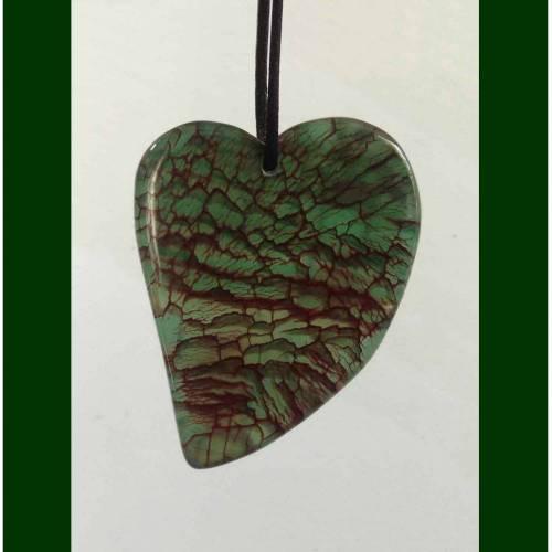 Edelstein HERZ-Anhänger  DRACHENVENEN-ACHAT, grün, rot-schwarz geädert, ca. 43 mm, UNIKAT, mit/ohne Satin-Schnur