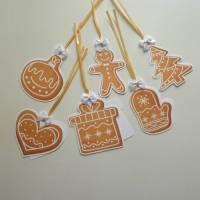 6 tolle Geschenkanhänger für Weihnachten, zweilagig,  Lebkuchen Set 1 Bild 1